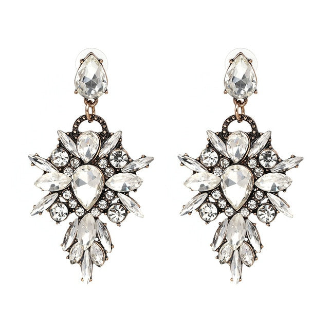Luxury Flower Crystal Dangle Earrings - Discountgereation