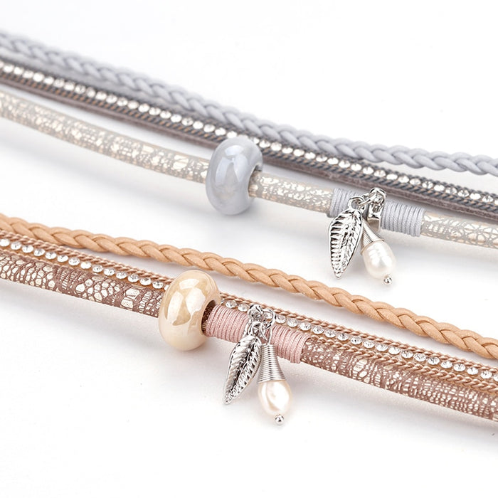 Natural Pearl Braided Leather Bracelet - Discountgereation