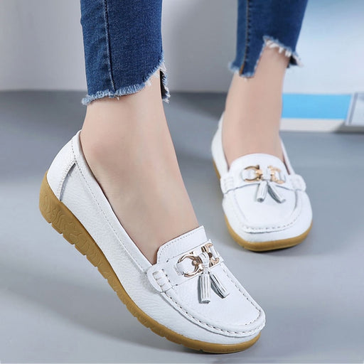 Slip On Cow Leather Flats Shoes - Discountgereation