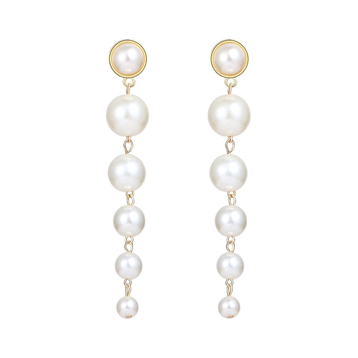 Simulated-pearl Dangle Long Earrings - Discountgereation
