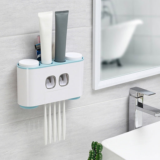 Hand Free Automatic Toothpaste Dispenser Dust-proof Toothbrush Holder with Cups No Nail Wall Stand Shelf Bathroom Organizer