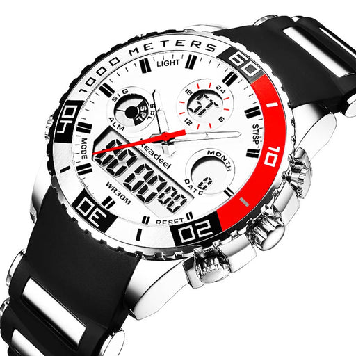 Rubber LED Digital Dual Display Wristwatches - Discountgereation