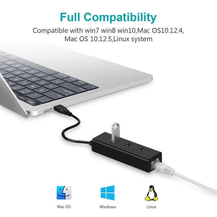 Ethernet Adapter 3 Ports USB 3.0 Hub - Discountgereation