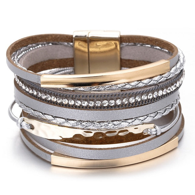 Metal Bar Charm Braided Wide Wrap Bracelets - Discountgereation