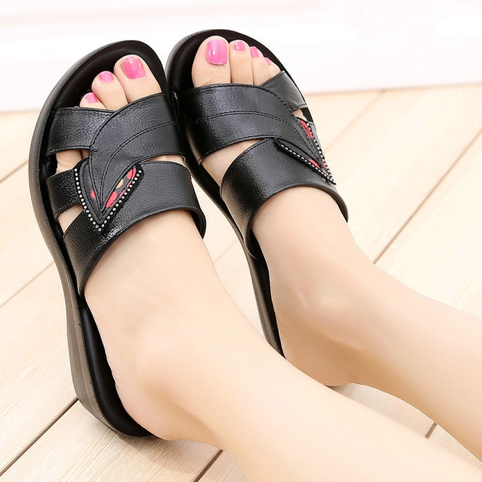 Genuine Leather Retro Solid Flip Flops Slippers - Discountgereation
