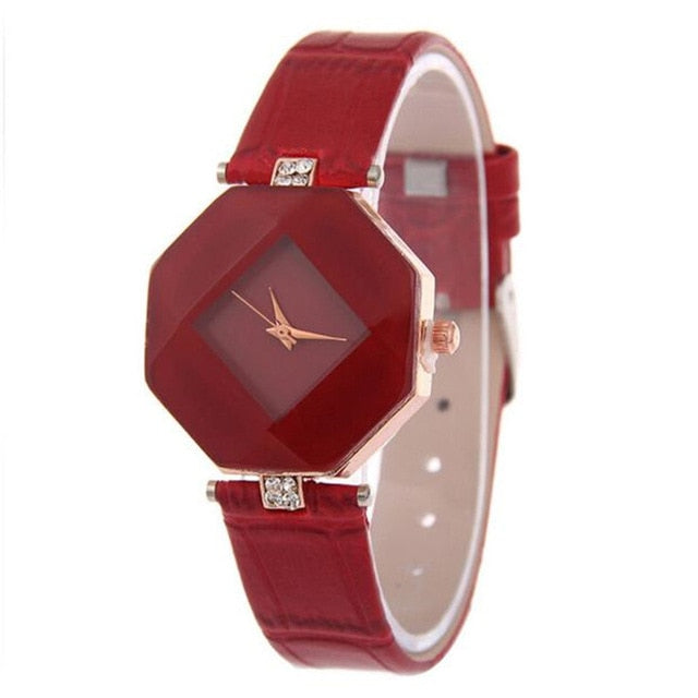 Gem Cut Geometry Crystal Leather Quartz Wristwatch - Discountgereation