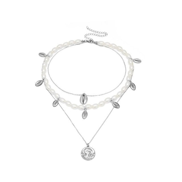 Imitation Pearls Choker Cross Pendant Necklaces - Discountgereation