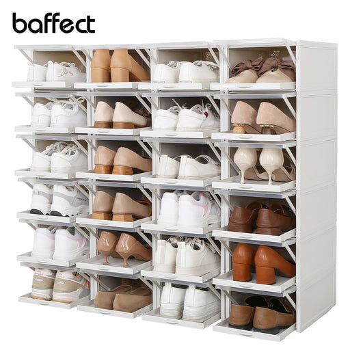 Baffect Shoes Rack Set of 3 Plastic Shoes Boxes Stackable Storage Drawers Boxes Shoe Organizer for High Heels Sports Shoes