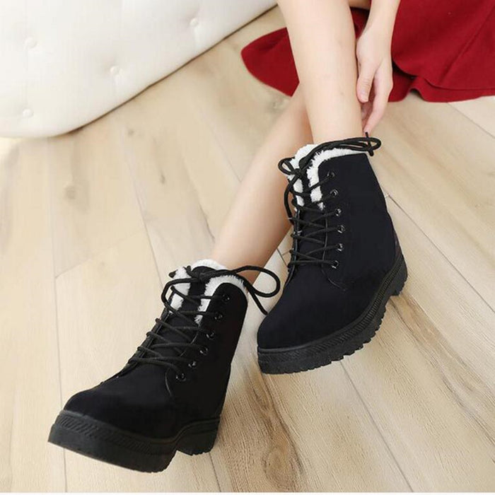Cotton Fabric Lace-Up Snow Boots - Discountgereation