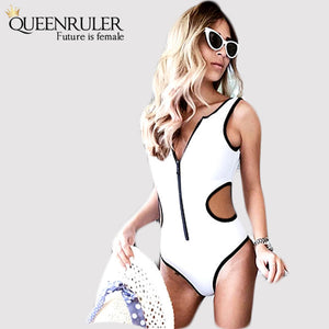 Backless One Piece Swimsuit (white) - Queenruler