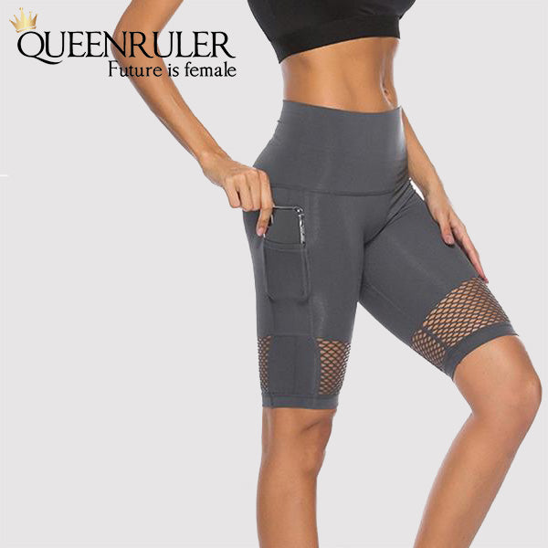 Yoga Shorts With Pocket (Gray) - Queenruler