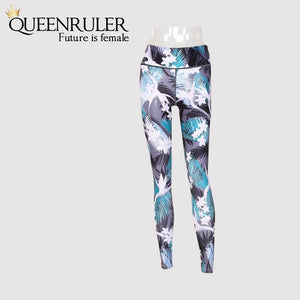 Flower Leaf Print Leggings - Queenruler