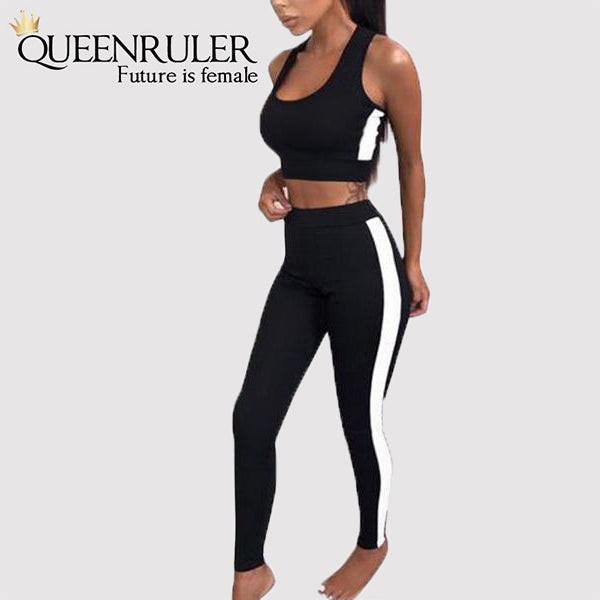 2PC Fitness Tracksuit (Black) - Queenruler
