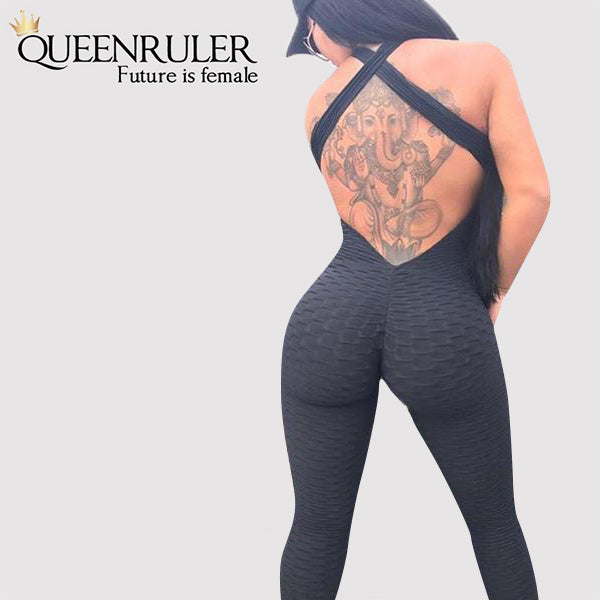 Backless Yoga Jumpsuit (Black) - Queenruler