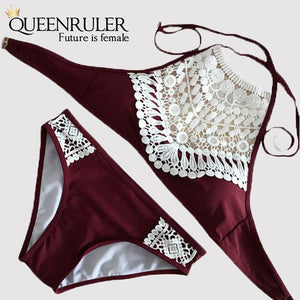 Sexy Brazilian Thong (Lace Wine Red) - Queenruler