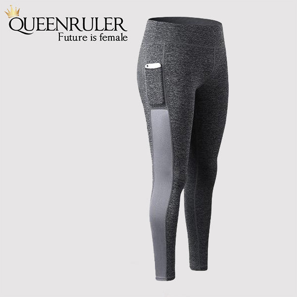 Athletic Leggings With Pocket (Gray) - Queenruler