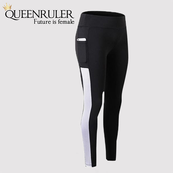 Athletic Leggings With Pocket (Black White) - Queenruler