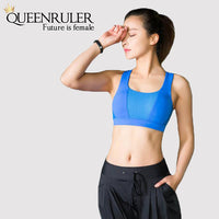 Cross Strap Workout Bra (Blue) - Queenruler