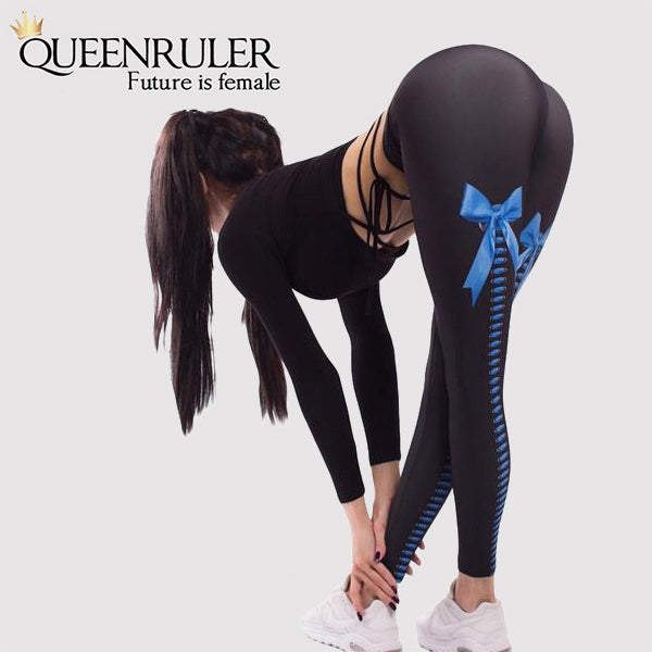 Ribbon Printed Breathable High Waist Leggings - Queenruler