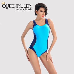 One Piece Fashion Swimsuit (Blue) - Queenruler
