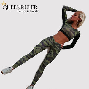 New Gym Fitness Sportswear (Brown Green) - Queenruler