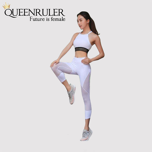 Sexy Mesh Patchwork Leggings (Black) - Queenruler
