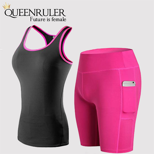 Sleeveless Shirt and Shorts New Quick Dry Yoga Sets (Black Rose) | Queenruler