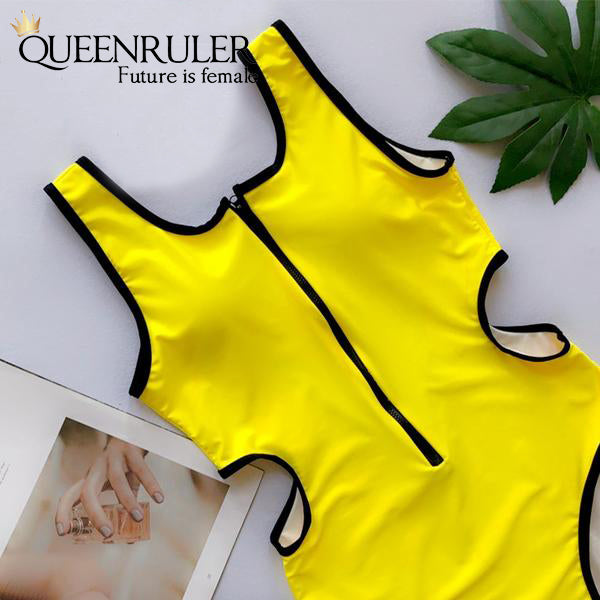 Hollow Out Waist One-piece Swimsuit (Yellow) - Queenruler