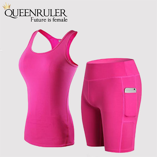 New Quick Dry Yoga Sets (Rose Red) | Queenruler