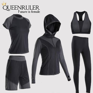 5PCS Sexy Yoga Set (Black) - Queenruler