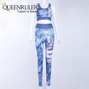 Two Piece Fitness Tracksuit (Blue) - Queenruler