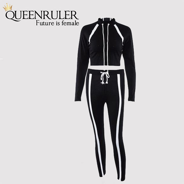 2 Piece Long Sleeve Athletic Set (Black) - Queenruler