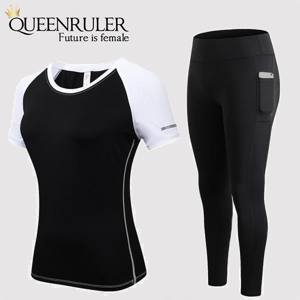 Fitness Yoga Set With Pocket (Black) - Queenruler