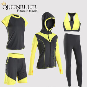 5PCS Sexy Yoga Set (Yellow) - Queenruler