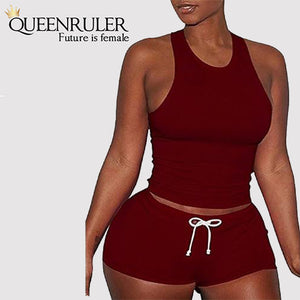 Sleeveless Quick Dry Yoga Set (Red) - Queenruler