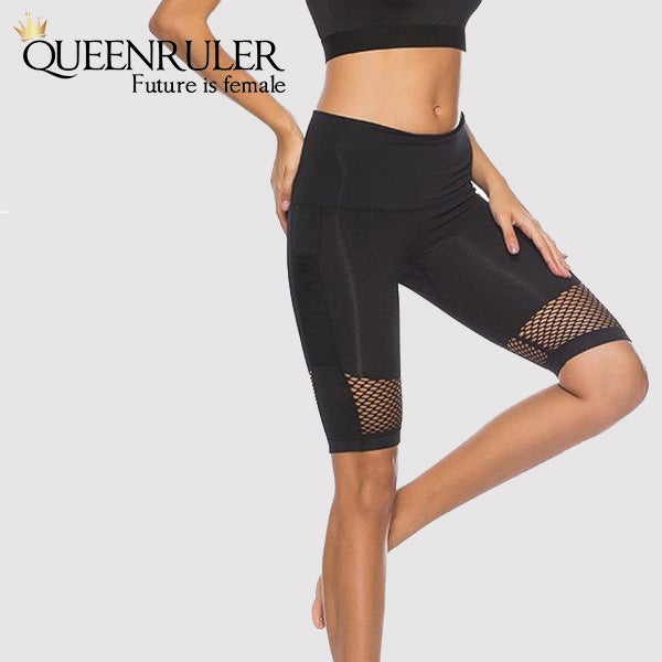 Yoga Shorts With Pocket (Black) - Queenruler