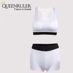Cool Running Shorts and Bra (White) - Queenruler