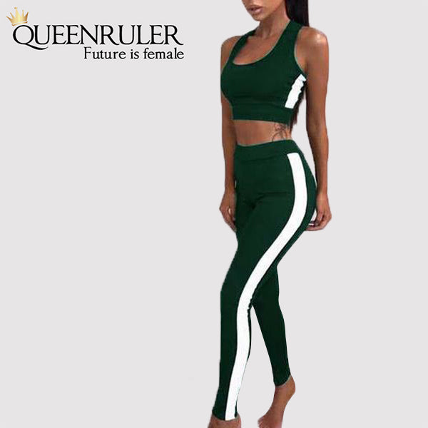 2PC Fitness Tracksuit (Green) - Queenruler