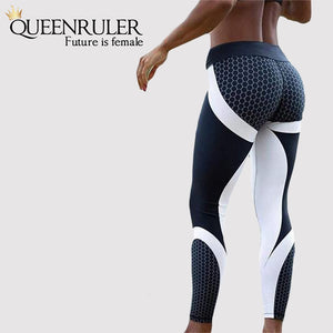 Honeycomb Printed High Waist Push Up Leggings - Queenruler