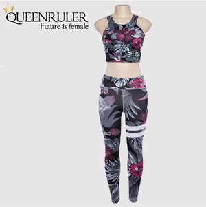 Floral Fitness 2 Piece Set (Purple) - Queenruler