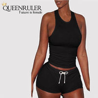 Racer Back Yoga Set (Black) - Queenruler