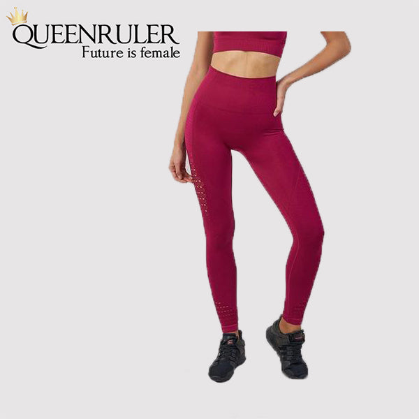 Seamless Tummy Control Leggings (Wine Red) - Queenruler