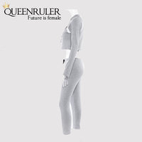 2 Piece Long Sleeve Athletic Set (Gray) - Queenruler