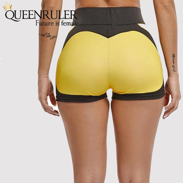 Push Up Elastic Shorts (Yellow) - Queenruler