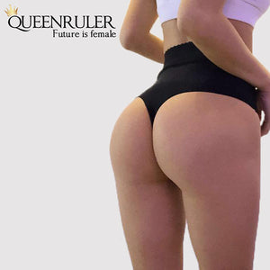 High Waist Seamless Pantie (Black) - Queenruler