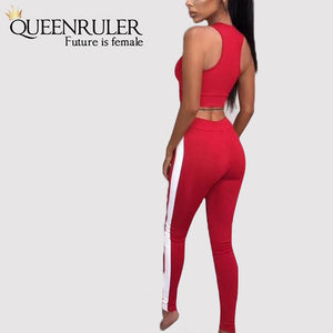 2PC Fitness Tracksuit (Red) - Queenruler
