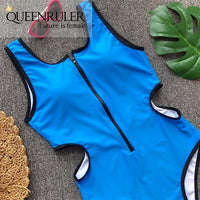 Hollow Out Waist One-piece Swimsuit (Blue) - Queenruler