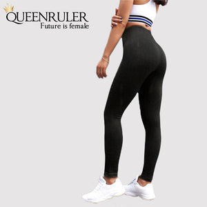 Seamless Tummy Control Leggings (Black) - Queenruler