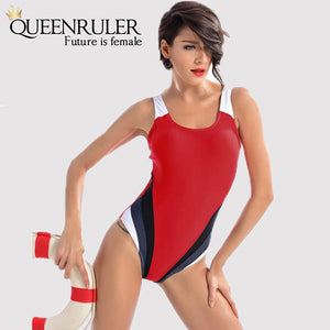 One Piece Fashion Swimsuit (Red) - Queenruler