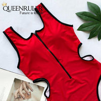 Hollow Out Waist One-piece Swimsuit (Red) - Queenruler